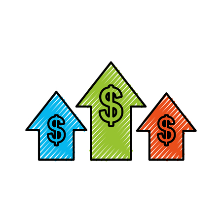 business arrow growth chart money dollar vector illustration Illustration