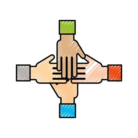 business team showing unity with their hands together business vector illustration