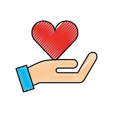 hand met rood hart liefdadigheid liefde donatie vectorillustratie Stock Illustratie