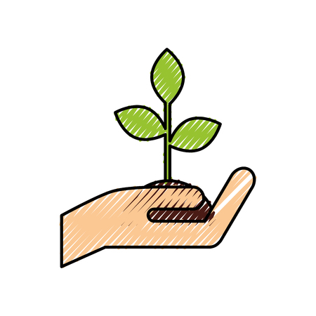 hand holding plant growth business finance concept vector illustration