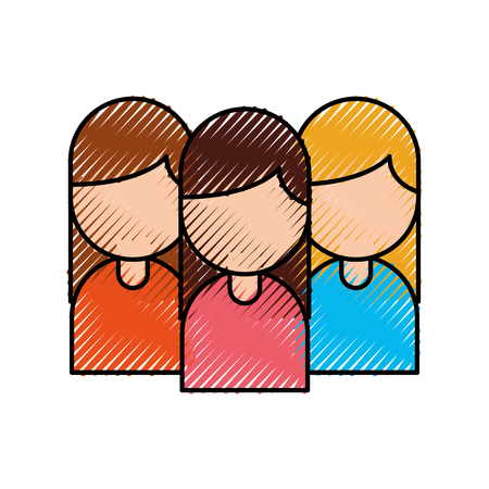 group of business women working people on white background vector illustration Illustration