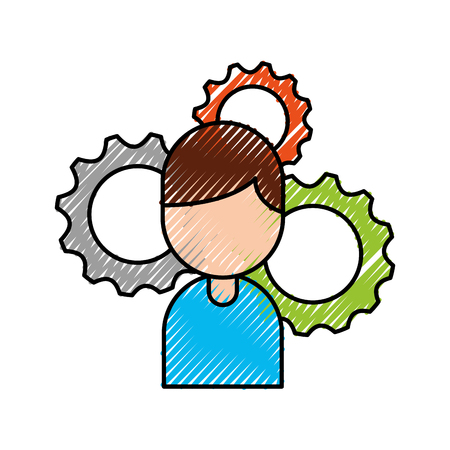 user man person profile avatar with gear cog wheel business vector illustration