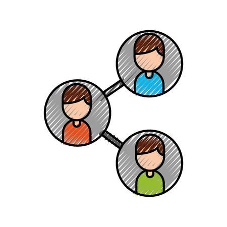 キャラクターベクターイラストを使用したリーダーおよびビジネス同僚チーム組織