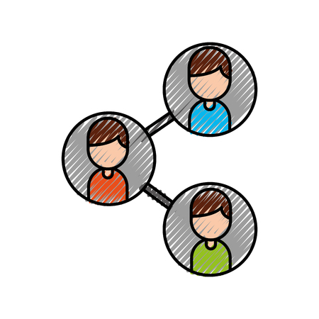 leader and business colleagues team organization with characters vector illustration