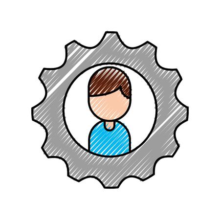 cartoon boy character business gear team work vector illustration