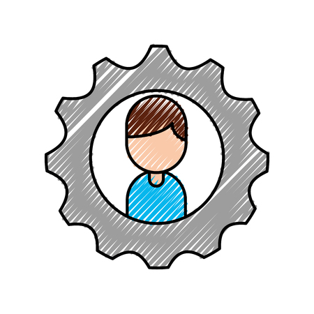 cartoon boy character business gear team work vector illustration