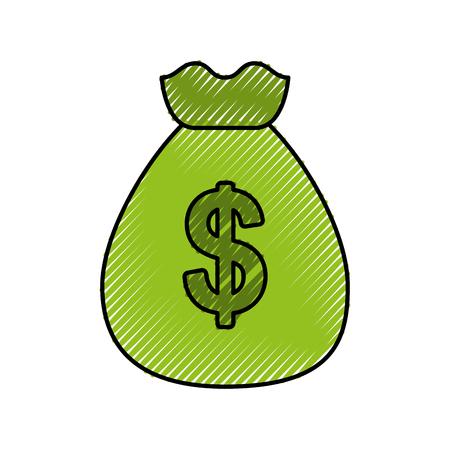 green bag of money dollar cash bank concept vector illustration Ilustração