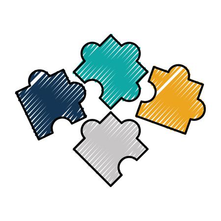 ビジネスパズルピースソリューション要素ベクトルイラスト