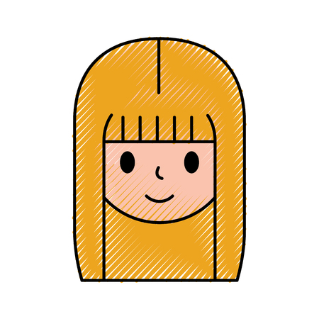 cartoon girl female avatar character web icon vector illustration