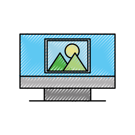 computer picture screen device technology wireless vector illustration Illustration