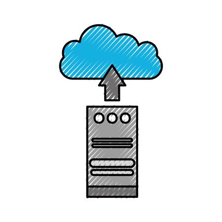 클라우드 컴퓨팅 타워 컴퓨터 업로드 정보 저장 벡터 일러스트 레이션