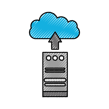 cloud computing tower computer upload information storage vector illustration