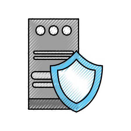 tower computer storage shield protection device vector illustration
