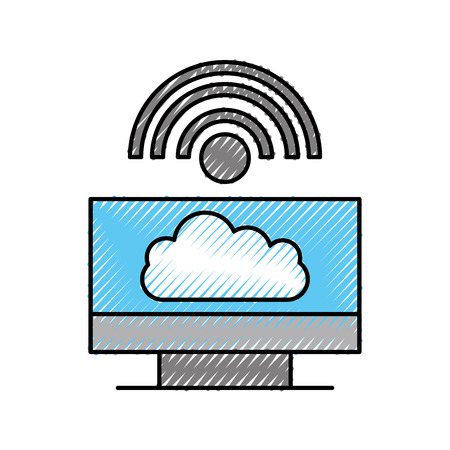 cloud computing computer internet  connected vector illustration Illustration