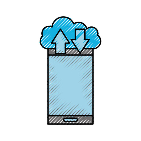 cloud computing smartphone arrow up and download vector illustration