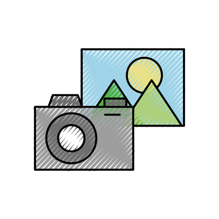 photo camera picture application social media vector illustration