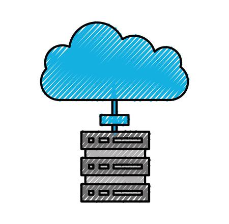 cloud computing datacenter server technology storage vector illustration Illustration