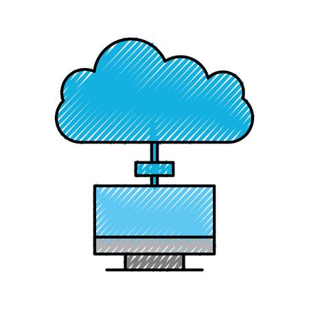 クラウドコンピューティングコンセプトラップトップコンピュータアプリケーションデータサーバーベクトルイラスト