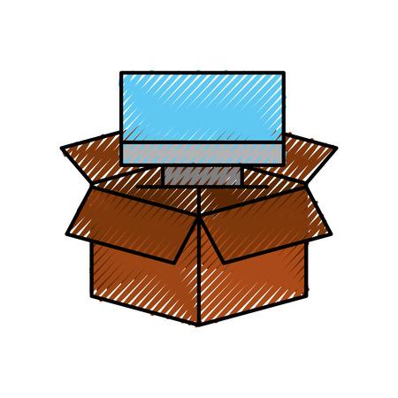 kartonnen doos computer opslagsysteem technologie vectorillustratie Stock Illustratie
