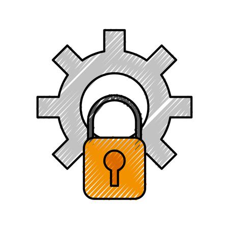 기술 장비 및 보안 자물쇠 시스템 벡터 일러스트 레이 션 일러스트