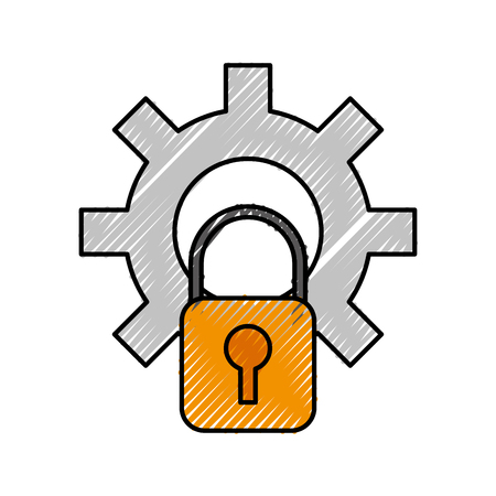 technology gear and security padlock system vector illustration
