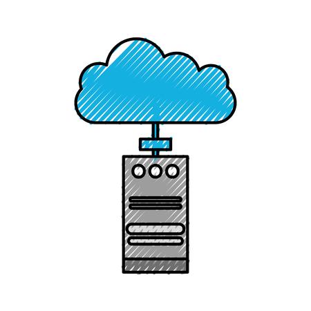 クラウドコンピューティングタワー cpu 技術データ情報ベクトルイラスト  イラスト・ベクター素材
