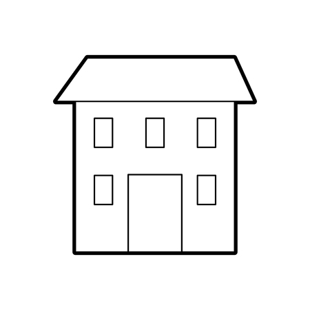 house construction architecture structure window and roof vector illustration Çizim