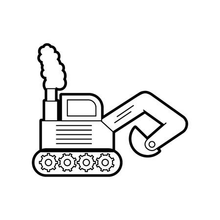 掘削機ディガートラック建設機械アイコンベクトルイラスト  イラスト・ベクター素材