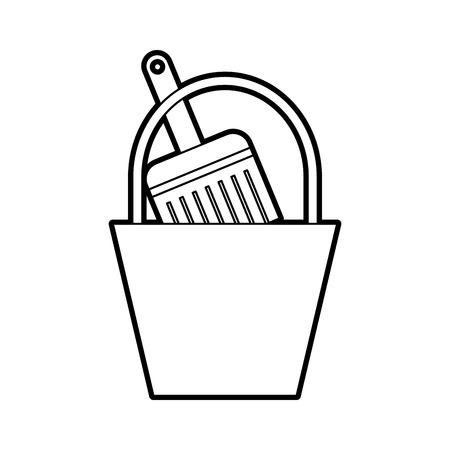 paint bucket brush repair tools construction vector illustration