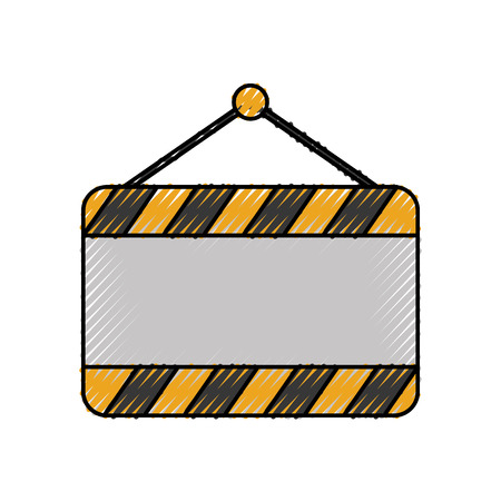 signal board blank construction hanging on the nail vector illustration Çizim