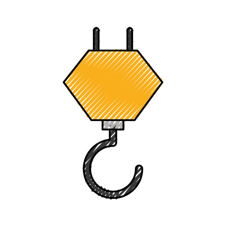 Grue crochet construction équipement mécanique vector illustration Banque d'images - 85441988