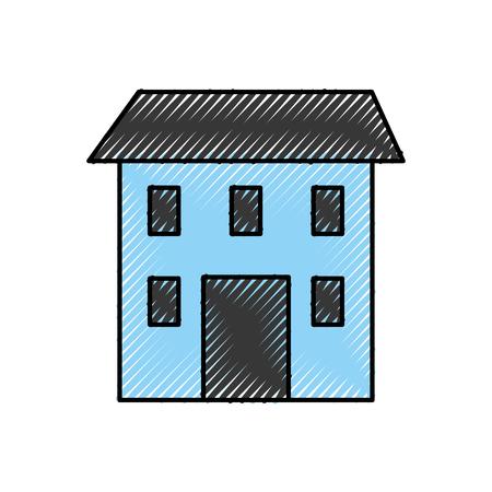 住宅建設建築構造窓と屋根ベクトルイラスト