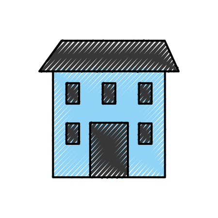 house construction architecture structure window and roof vector illustration Иллюстрация