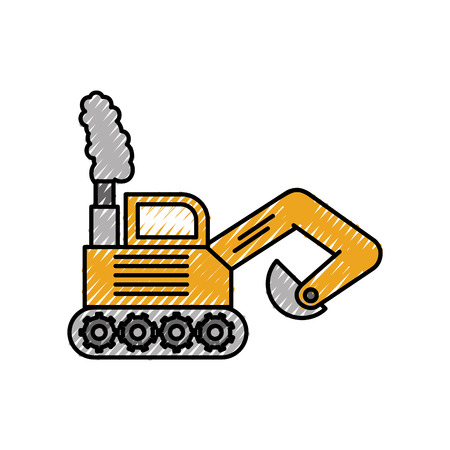 excavator digger truck construction machine icon vector illustration