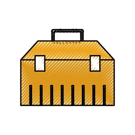 construction toolkit equipment metal box vector illustration Ilustração