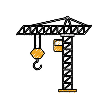 tower construction crane cabin hook industrrial vector illustration