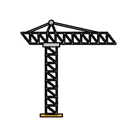tower construction site scaffolding project icon vector illustration