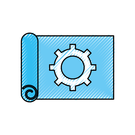 gear wheel on the paper construction work plan vector illustration