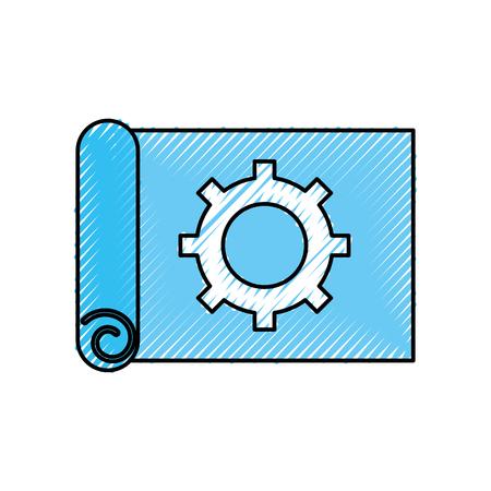 gear wheel on the paper construction work plan vector illustration
