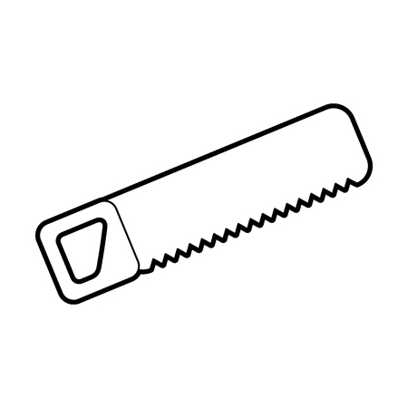 construction saw carpentry tool metal wooden handle vector illustration