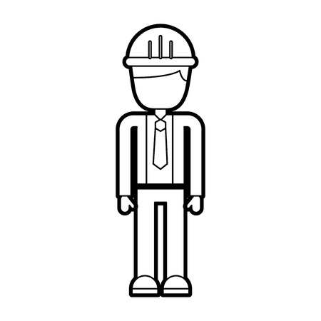 construction worker man with helmet character vector illustration