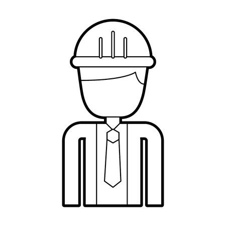 guy standing: construction worker man with helmet character vector illustration