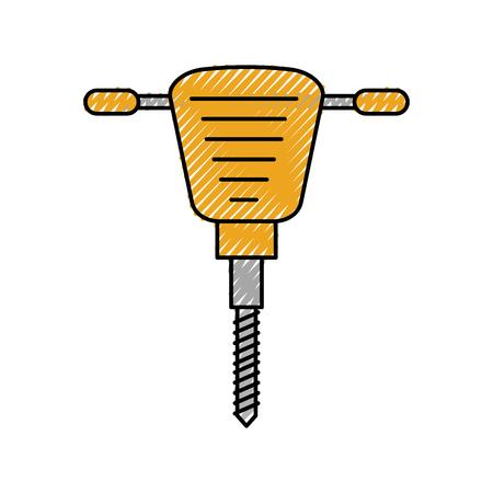 jackhammer equipment instrument for construction vector illustration
