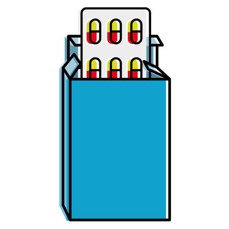 pharmacy symbol: capsules drugs in box vector illustration design Illustration