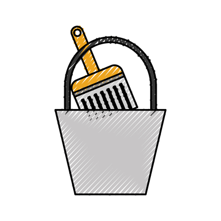 paint bucket brush repair tools construction vector illustration