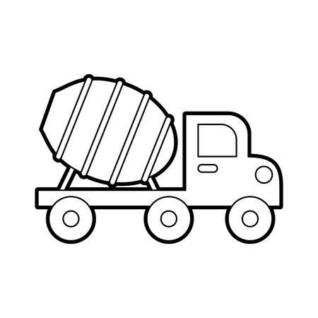 betonmixer truck met speciale apparatuur bouwmachines vector illustratie