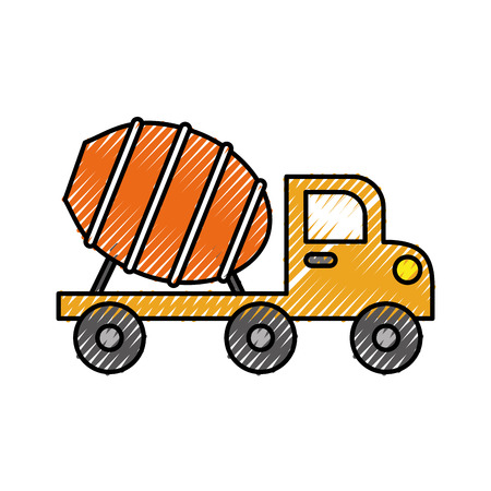 concrete mixer truck with special equipment construction machinery vector illustration Illustration