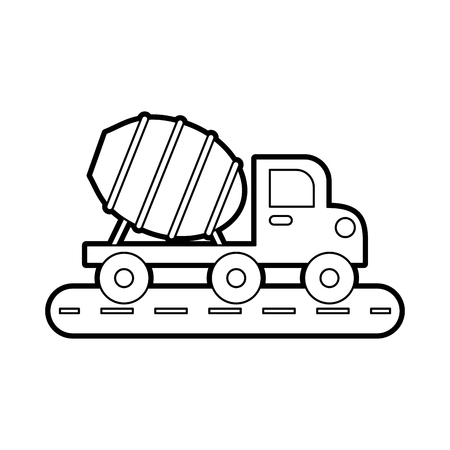concrete mixer truck with special equipment construction machinery vector illustration 向量圖像