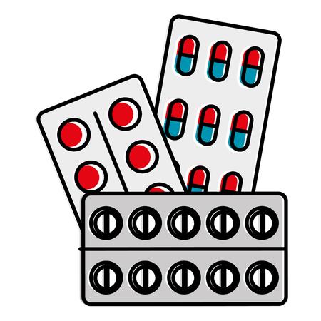 pills drugs and capsules vector illustration design Çizim