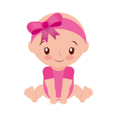 happy and smiling baby girl adorable vector illustration Illustration